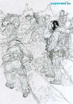 Kim JungGi Soldier Ink drawing