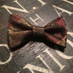 Wint |Men's Burgundy, Black and Gold| Brocade Bow Tie| Adjustable Self-Tie or Pre-Tie Bow Tie| Pocket Square Included