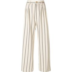 Erika Cavallini striped wide-leg trousers (652 CAD) ❤ liked on Polyvore featuring pants, pink pants, high waisted wide leg trousers, striped pants, stripe pants and pink wide leg trousers