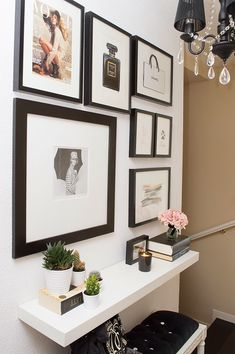 gallery wall // black frames // black vs white // entry way console. Love love. Have had a similar idea in my head for a bathroom