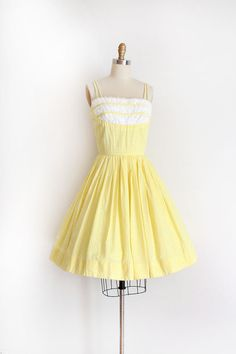 vintage 1950s dress // 50s yellow gingham day dress by TrunkofDresses