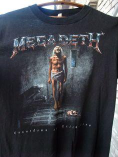 786d3de130bf Details about Vintage 90's Megadeth T-Shirt Tour 1992 Countdown To  Extinction Metal REPRINT