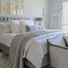Gray and white peaceful bedroom.
