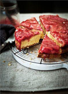 Upside-Down Rhubarb, Ginger And Almond Chiffon Cake