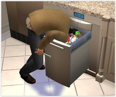 My sim Noah thought the best way to make sure the bin was fixed was to get into the bin…