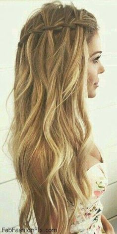 Beautiful Long Hairstyles Simple Elegant Updos For Medium Hair Going Out Hair Up Styles 20190414 Braided Prom Hair Hair Styles Waterfall Braid Hairstyle