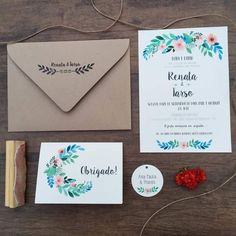 convite de casamento; convite rústico; envelope kraft; convite floral; Quince Invitations, Fun Wedding Invitations, Birthday Invitations, Wedding Cards, Typography Invitation, Invitation Design, Tropical Party, Sweet 15, Ideas Para Fiestas
