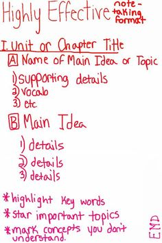 How to take notes (from an honor roll high school student. Hope it comes in handy.) for studying tips, i suggest rewriting notes again, especially in this format. note taking or writing papers High School Hacks, In High School, High School Students, Law School, Note Taking High School, Graduate School, College Students, Middle School, 500 Calories