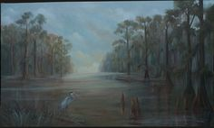 Cypress Lake, 8' x 5', Patricia Delaney. Oil on canvas, marouflage (technique for affixing painted canvas to a wall). Phone pic so quality of photo not great.