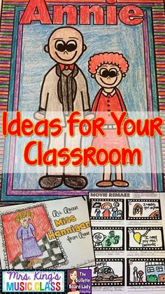 ANNIE -Ideas for Using This Musical in Your Classroom by Tracy King. NO PREP ideas for teaching this musical. I love the cross curricular activities and know that this would be SO useful in the classroom. It would also make planning for a sub a breeze! Orff Activities, Music Education Activities, Elementary Choir, Upper Elementary, Elementary Teaching, Annie Musical, Choir Songs, Music Classroom, Classroom Tools