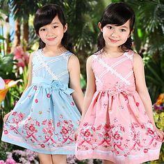 rosas imprimir vestido das meninas colete – BRL R$ 146,34