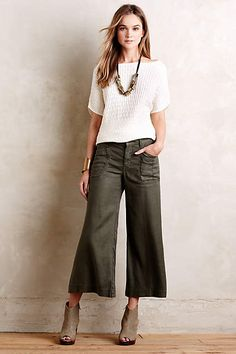 0378734a77db Nessa Pullover - #anthrofave Olive Pants Outfit, Cropped Jeans Outfit, Cropped  Wide Leg