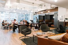 Collaborative space at WeWork's NYC coworking space in Midtown Manhattan