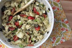 Cheesy Pesto Pasta Salad- This was delightful. Even Robert, who doesn't usually eat pasta salad, liked it.
