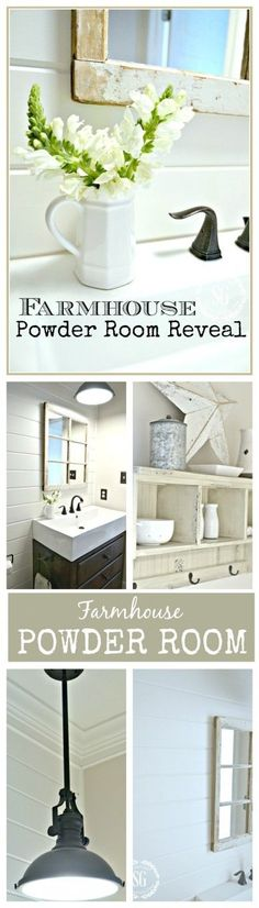 FARMHOUSE POWDER ROOM REVEAL Lots of ideas for creating a clean, crisp bathroom