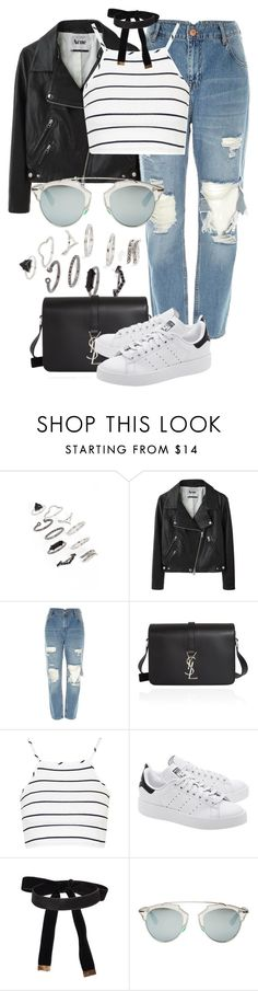 """""""Untitled #2349"""" by annielizjung ❤ liked on Polyvore featuring Topshop, Acne Studios, River Island, Yves Saint Laurent, adidas Originals, Cybele and Christian Dior"""