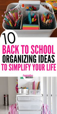 Back To School Organization Ideas For A Successful Year - Organization Obsessed Back to school organizing ideas to help you simplify your life, create a routine, and take the chao Kids School Organization, Homework Organization, Organizing School Supplies, Learning Organization, Back To School Hacks, Going Back To School, School Tips, Middle School, School Checklist