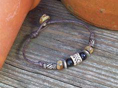 New  Brown Cord Bracelet with Bone and Horn Beads by Angelof2, $16.50