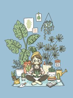 'Plant Lady' T-Shirt by freeminds - 9 plants Aesthetic illustration ideas Plant Aesthetic, Aesthetic Drawing, Aesthetic Art, Plant Cartoon, Cartoon Garden, Mosquito Plants, Plant Wallpaper, Drawing Wallpaper, House Plants Decor