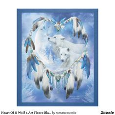 Heart Of A Wolf 4 Art Fleece Blanket, featuring the dream catcher wolf art of Carol Cavalaris.
