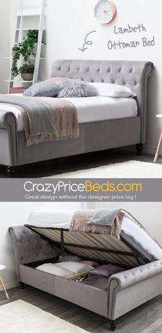 Lambeth Soft Grey Velvet Upholstered Bed Frame with Gas Lift Ottoman Base. Grey Bed Frame, King Size Bed Frame, Grey Double Bed Frame, Small Double Bedroom, Double Beds, Sleigh Bed Frame, Sleigh Beds, Velvet Upholstered Bed, Houses