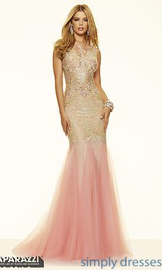 Floor Length Lace Illusion Neckline Formal Gown by Mori Lee at SimplyDresses.com
