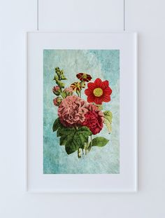 Dahlia, Hollyhock, French-Marygold decor art Flower gift botanical print kitchen decor Floralprint sunflower wall decor floral wall art #homedecor #WallArt #flowerprint #botanicalprint #floral #print #botanicalart #art #dahliaprint #flowers #floral #giclee #homedecorideas #victorian #vintage #vintageprint