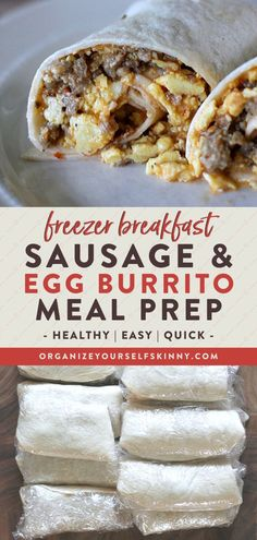 Freezer Burritos With Sausage and Egg - Organize Yourself Skinny Healthy Freezer Meals, Healthy Breakfast Recipes, Easy Meals, Work Meals, Healthy Recipes, Dinner Healthy, Make Ahead Breakfast Burritos, Breakfast Meals, Breakfast Club