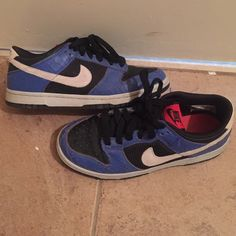 Low Nike dunk sb Blue cracked looked with white check and black red inside in great condition love them but there to small on me. It's a boys size 5.5 Nike Shoes Sneakers