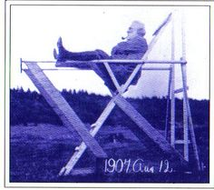 Alexander Graham Bell Tetrahedrals: Bell sitting in his tetrahedral observation post. August 12, 1907. Photo Courtesy  of the Library of Congress.