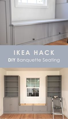 ikea hack, diy banquette seating, ikea havsta bench seating breakfast nook for dining table