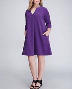 f09a1f65557 Lane Bryant NWT Infinite Stretch Dress 3 4 sleeve Purple Size 14 16 V-neck  1051