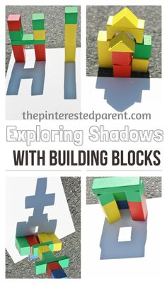 Exploring shadow & light with building blocks and other items. This is a wonderful spring or summer activity that you can do with your kids while exploring shadow & light outdoors