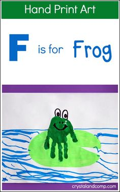 Hand Print Art: F is for Frog <br> We love alphabet crafts! Let's create something fun for the letter F. Today we are going to show you another hand print art idea using your little o Abc Crafts, Frog Crafts, Alphabet Crafts, Daycare Crafts, Alphabet Art, Classroom Crafts, Santa Crafts, Preschool Alphabet, Toddler Art