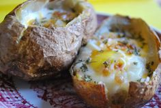 Baked potato with baked egg.