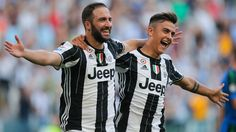 Juventus' Argentinian forward Gonzalo Higuain celebrates with teammate Argentinian forward Paulo Dybala after scoring a goal during the Italian Serie. Juventus Fc, Juventus Stadium, Best Football Team, Football Match, Arsenal Transfer News, Football Transfers, Live Tv Streaming, Nude Beach, Champions League