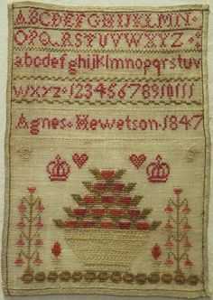 """SMALL EARLY 19TH CENTURY """"FRUIT BASKET"""" SAMPLER BY AGNES HEWETSON 1847"""
