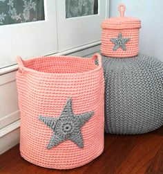 DIY old things, the abandoned garbage is just a misplaced artwork! Crochet Home, Love Crochet, Crochet Crafts, Crochet Flowers, Crochet Baby, Crochet Projects, Knit Crochet, Crochet Storage, Knit Basket