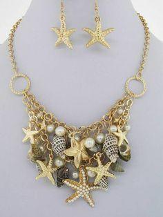 Chunky Beach Charm Gold Chain Necklace Earring Set Fashion Costume Jewelry | eBay
