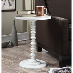 Convenience Concepts Palm Beach Spindle End Table, White