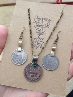Gypsy Coin Necklace & Earrings Set #2, GYPSY JEWELS, Tribal Kuchi Coin Pendant, Boho Gypsy Jewelry, Ethnic Coin Jewelry, Belly Dance Jewelry
