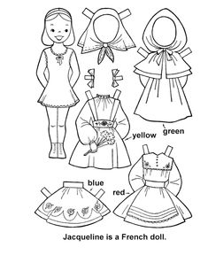 French paper doll to color Paper Doll Template, Paper Dolls Printable, Coloring Pages For Kids, Coloring Books, Paper Toys, Paper Crafts, American Heritage Girls, Thinking Day, Doll Quilt