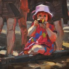 "Daily Paintworks - ""Dappled Apple Snack"" - Original Fine Art for Sale - © Carol Marine"