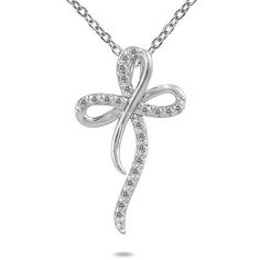 A stylish diamond cross is featured on this fashion necklace. This fine jewelry is crafted of 10-karat white gold in a polished finish. White Diamonds Diamonds: 25 Diamond cut: Round Diamond measureme