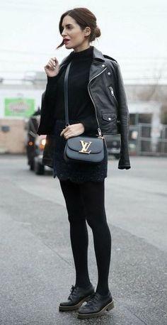 all black everything / bag + boots + skirt + moto jacket