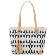 Spartina 449 Navy Tybrisa Island Tote (€150) ❤ liked on Polyvore featuring bags, handbags, tote bags, navy, hand bags, zip top tote, white tote, navy tote bag and tote purses