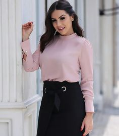 Image may contain: 1 person, standing Skirt Fashion, Frocks, Casual, High Waisted Skirt, Bell Sleeve Top, Chiffon, Mini Skirts, Vogue, Beautiful Women