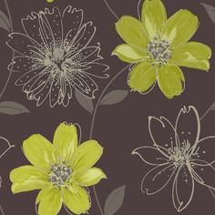 Love this Arthouse Samba Motif Wallpaper Brown / Lime Green for my office