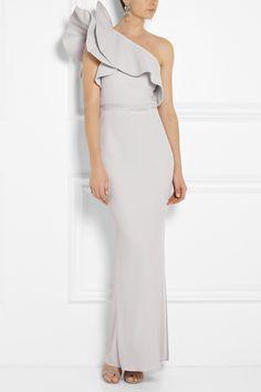 Lanvin|Ruffled one-shoulder crepe gown|NET-A-PORTER.COM