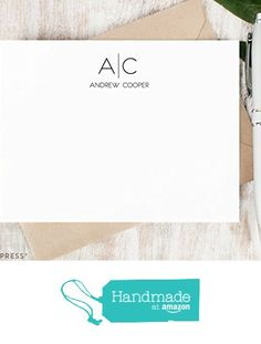 THIN LINE MONOGRAM - Personalized Flat Stationery Set - Classic Professional Note Cards, Stationary Thank You Cards, Traditional Set of Monogrammed Notecards and Envelopes from Curio Press https://www.amazon.com/dp/B018C09H4Y/ref=hnd_sw_r_pi_awdo_RGrGybY29ANJ4 #handmadeatamazon